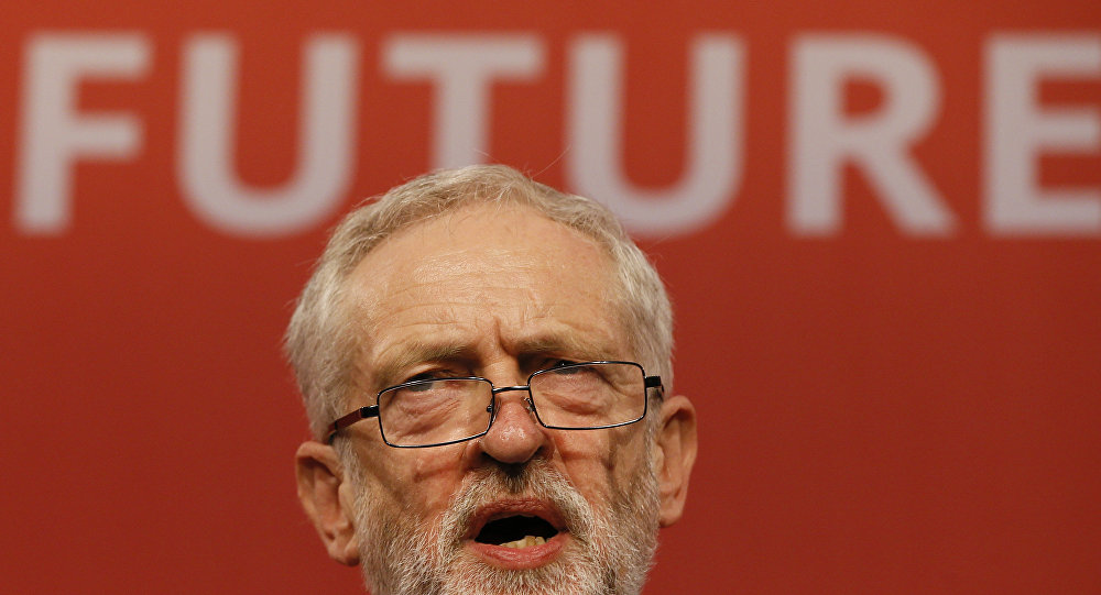 Jeremy Corbyn speaks on stage after he is announced as the new leader of The Labour Party during the Labour Party Leadership Conference in London, Saturday, Sept. 12, 2015. Corbyn will now lead Britain's main opposition party.