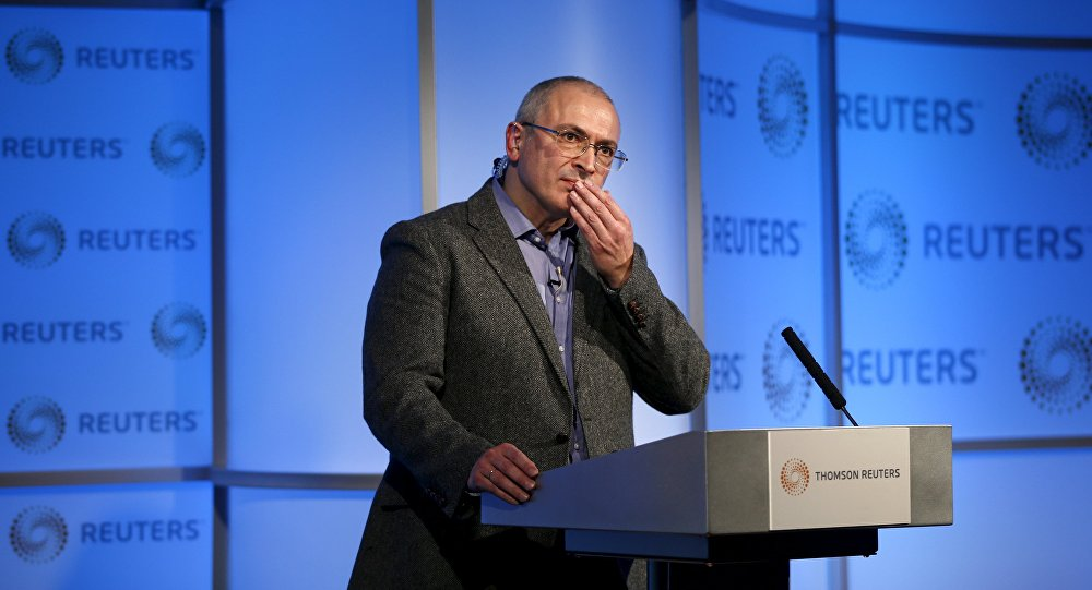 Former Russian tycoon Mikhail Khodorkovsky speaks during a Reuters Newsmaker event at Canary Wharf in London, Britain, November 26, 2015