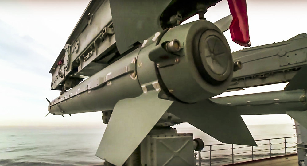 In this photo made from the footage taken from Russian Defense Ministry official web site on Friday, Nov. 27, 2015, the Osa missile defense system on the Russian missile cruiser Moskva is seen near the shore of Syria's province of Latakia, Syria
