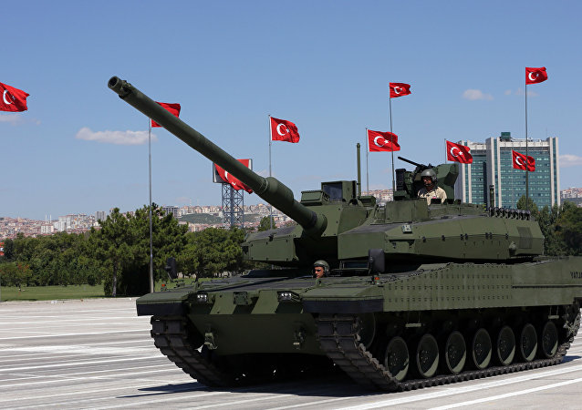 Turkey's first military tank, the Altay, seen during a military parade on Victory Day in Ankara, Turkey, Sunday, Aug. 30, 2015.