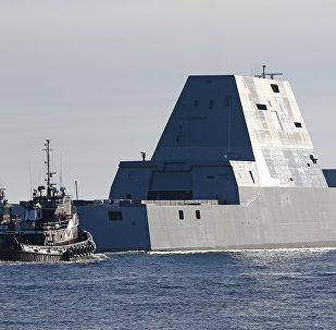 The first Zumwalt-class destroyer, the USS Zumwalt, the largest ever built for the US Navy, leaves the Kennebec River on Monday, December 7, 2015, in Phippsburg, Maine.