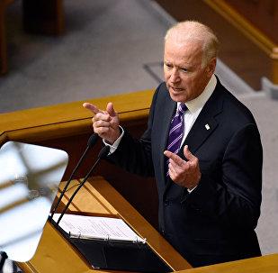 Vice President of the United States Joe Biden speaks at a meeting of Ukraine's Verkhovna Rada in Kiev.