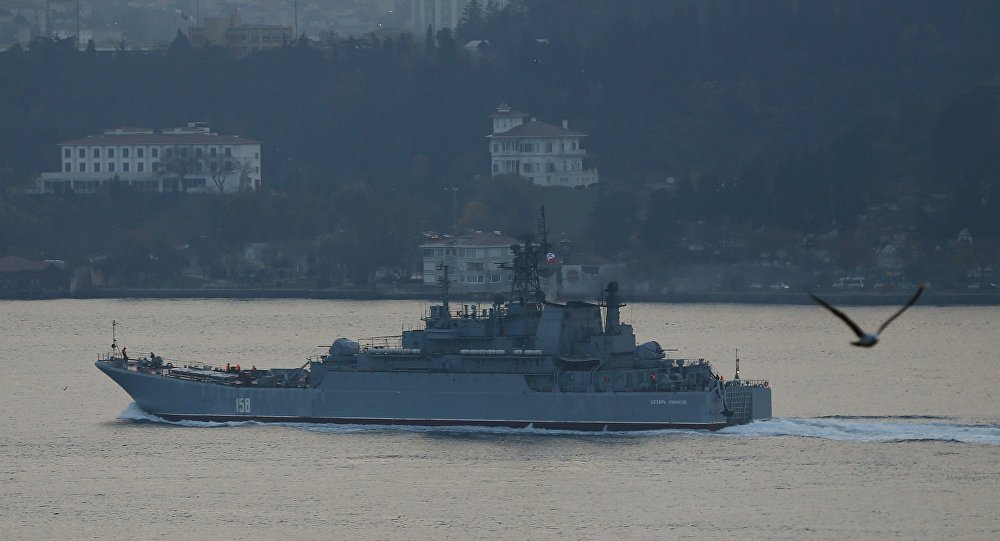 The Russian Navy's large landing ship Caesar Kunikov sets sail in the Bosphorus towards the Black Sea, in Istanbul, Turkey, November 25, 2015