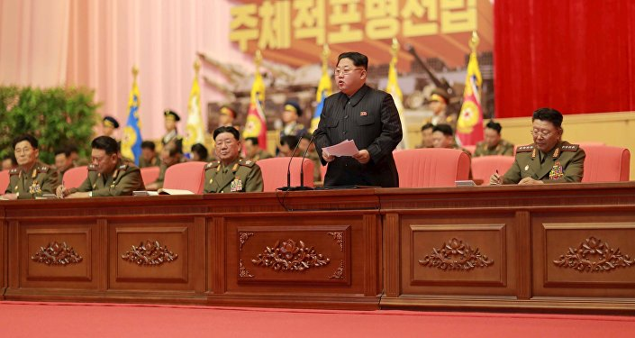 North Korean leader Kim Jong Un addresses the fourth conference of artillery personnel of the Korean People's Army (KPA) at the April 25 House of Culture in this undated photo released by North Korea's Korean Central News Agency (KCNA) in Pyongyang December 5, 2015