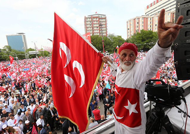 Turkish nationalist organization Gray wolves , wave their flags during a rally by Turkey's opposition Nationalist Action Party, MHP in Ankara, Turkey, May 24, 2015