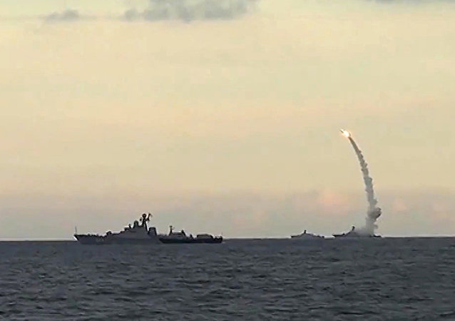 Russia's Caspian Fleet launches a massive attack involving 18 Kalibr-NK cruise missiles on seven terrorist positions in the Syrian provinces of al-Raqqah, Idlib and Aleppo.