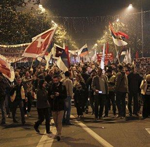 Demonstrators take part in an anti-NATO protest march in Podgorica, Montenegro. File photo