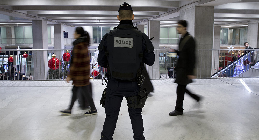French policmen patrols at the the Roissy-Charles-de-Gaulle airport in Roissy-en-France, outside Paris