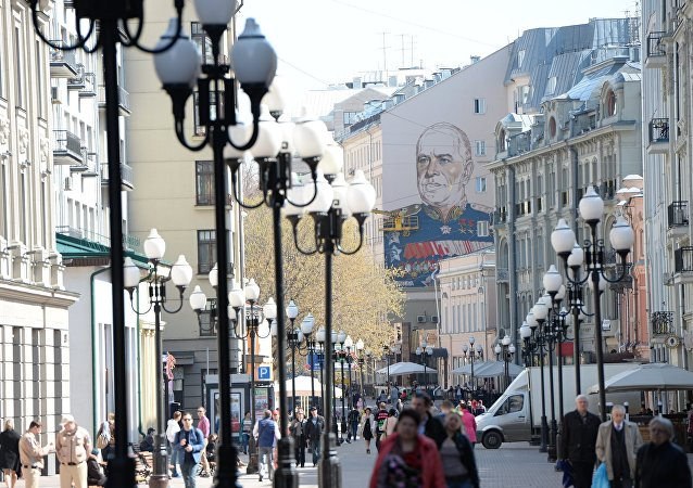 Graffiti with Marshal Georgy Zhukov on Moscow's Arbat Street