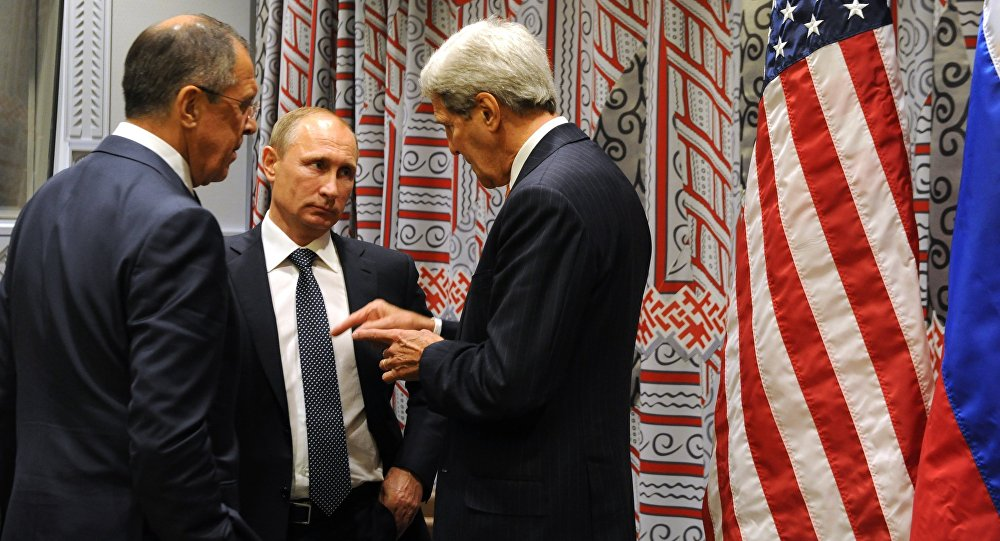 Russian President Vladimir Putin, center, Russian Foreign Minister Sergey Lavrov, left, and US Secretary of State John Kerry.