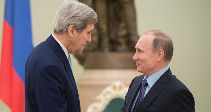 Russian President Vladimir Putin, right, and US Secretary of State John Kerry.