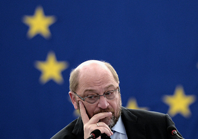 European Parliament President Martin Schulz attends a debate on the 13 November terrorist attacks in Paris and subsequent police and military operations at the European Parliament in Strasbourg, eastern France, on November 25, 2015.