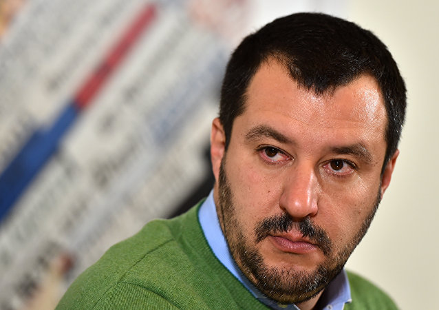 Italian Lega Nord (Northern League) Secretary, Matteo Salvini, speaks during a press conference on December 9, 2015 in Rome