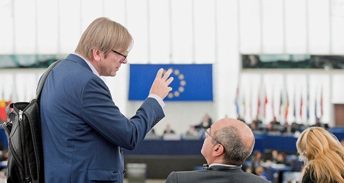 Ex-Belgium prime minister Guy Verhofstadt is talking at the entrance of the EP hemicycle in Strasbourg.