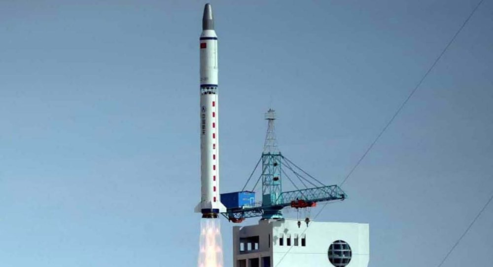 China's Long March 2-D carrier rocket carrying a Chinese-made satellite takes off from the Jiuquan Satellite Launch Center in northwest China's Gansu Province Monday, Nov. 3, 2003