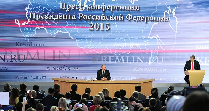 December 17, 2015. Russian President Vladimir Putin, center, at the 11th annual news conference at the World Trade Center on Krasnaya Presnya