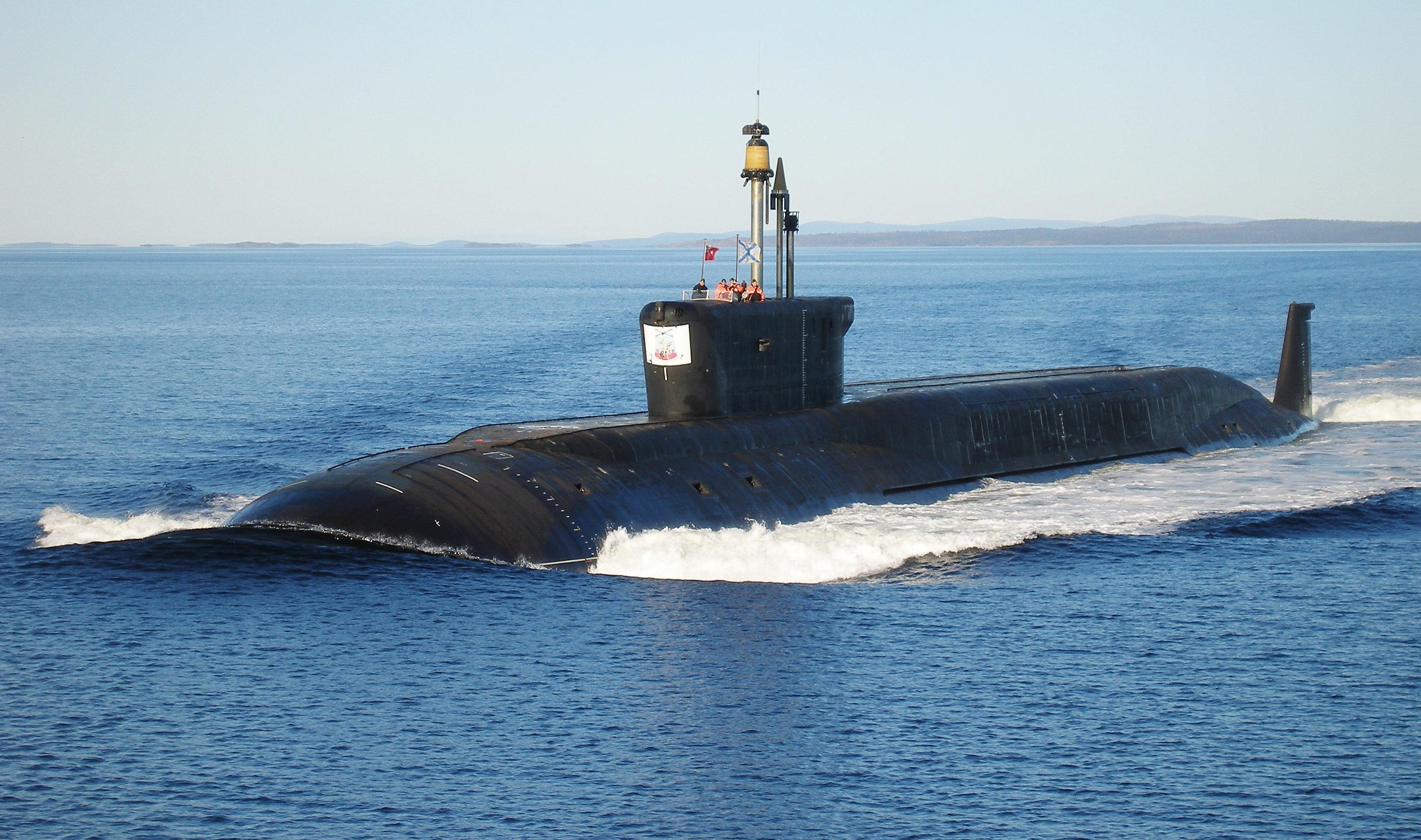 The Yuri Dolgorukiy undergoing sea trials