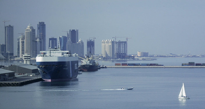 A picture shows a general view of the Qatari capital's port in Doha
