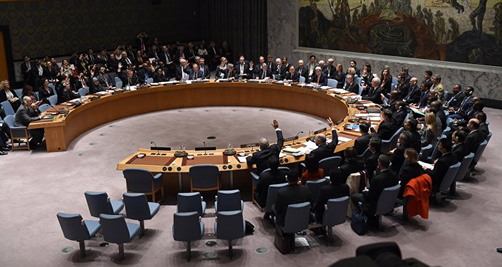 Foreign Ministers vote during a UN Security Council meeting.