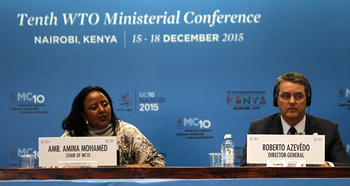 The Kenyan Foreign Affairs Cabinet Secretary Amina Mohamed (L) and the Director General of the World Trade Organization (WTO) Roberto Azevedo attend the opening of the World Trade Organization (WTO) Summit in Nairobi, Kenya December 15, 2015