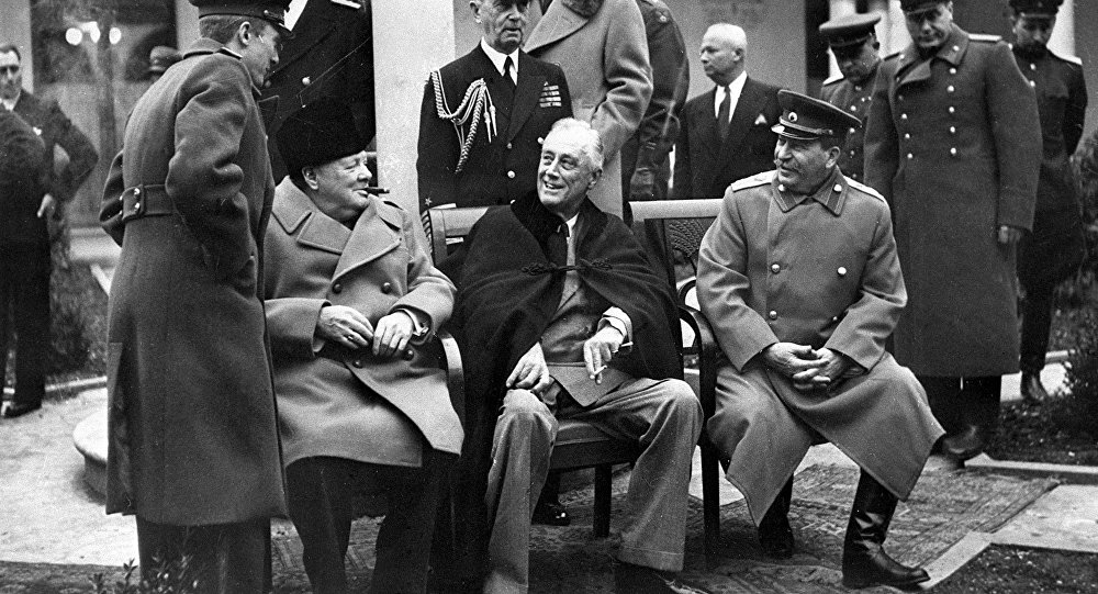 The Yalta (Crimean) conference of three allied powers on February 4-11, 1945. In the center (seating from left to right): British Prime Minister Winston Churchill, US President Franklin Delano Roosevelt and Marshal of the USSR Joseph Stalin