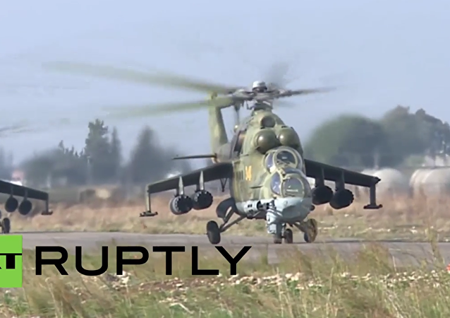 Syria: Russian choppers prepped before taking off for sorties from Hmeymim