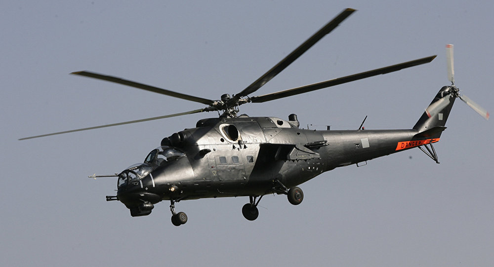 A Mil Mi-35-M Hind helicopter gunship