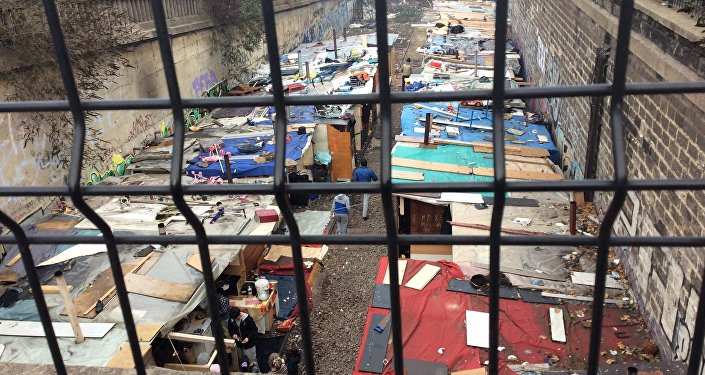 A migrant camp in Paris' 18th Arrondissement