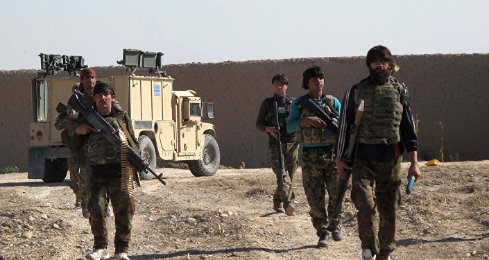 Afghan National Army (ANA) soldiers walk in Helmand on December 21, 2015