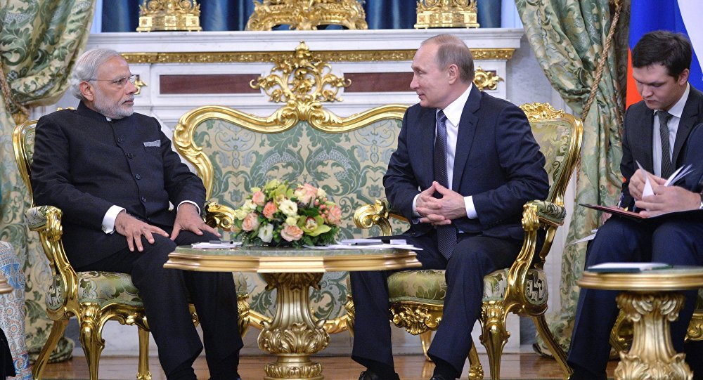 Встреча президента РФ В. Путина с премьер-министром Индии Н. Мод