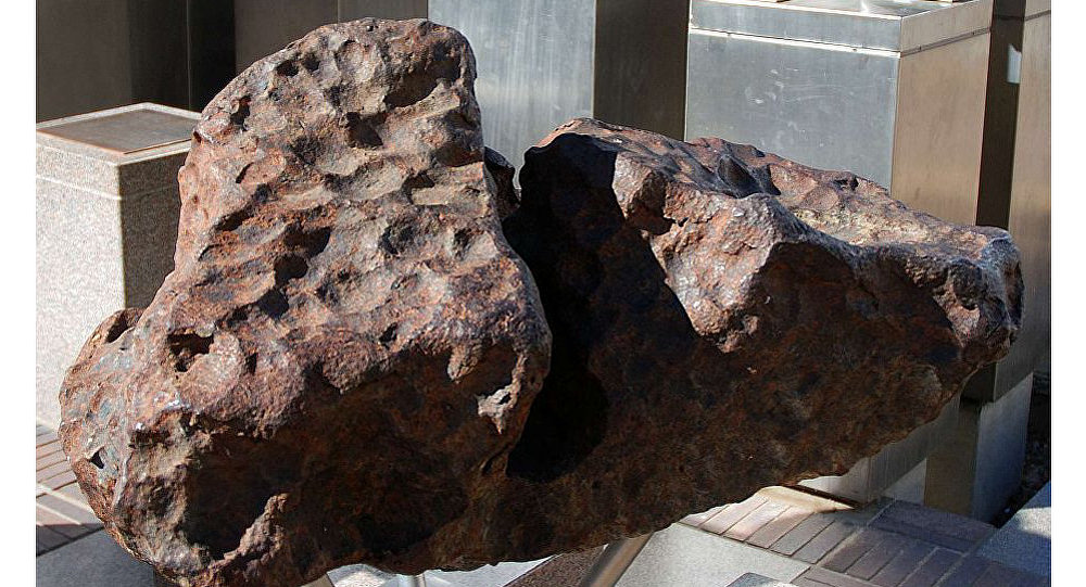 One of the Gibeon meteorites on permanent display in Post Street Mall, Windhoek.
