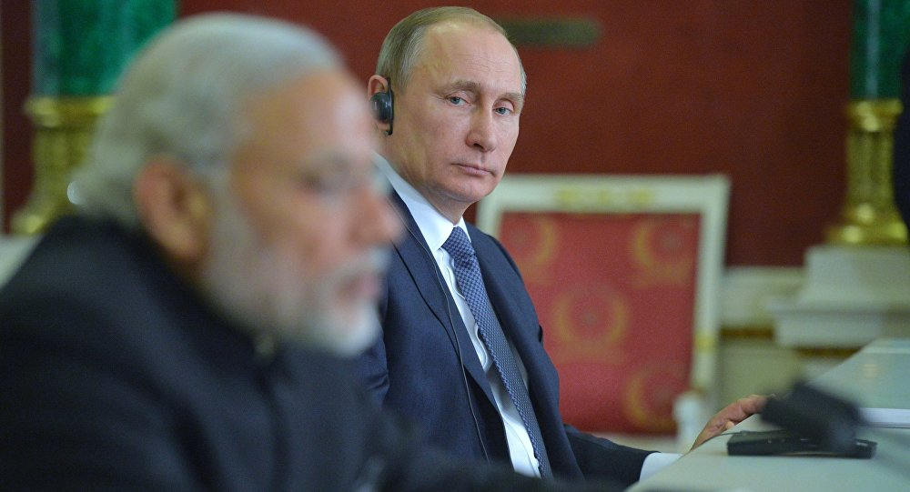 Russian President Vladimir Putin meets with Indian Prime Minister Narendra Modi