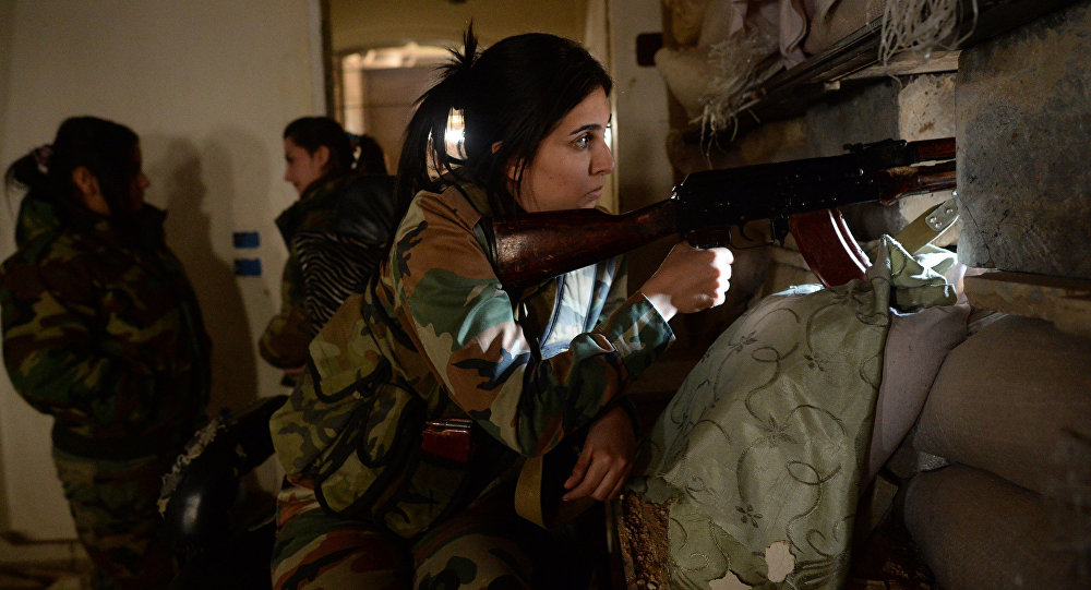 Female snipers of the Syrian Arab Army in a Damascus suburb.