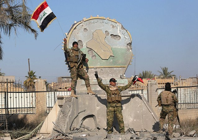 A member of the Iraqi security forces holds an Iraqi flag at a government complex in the city of Ramadi, December 28, 2015