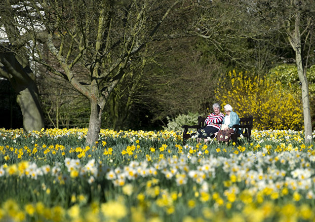 Two women chat on a bench in the Wilderness garden at the Hampton Court Palace in East Molesey, south west London