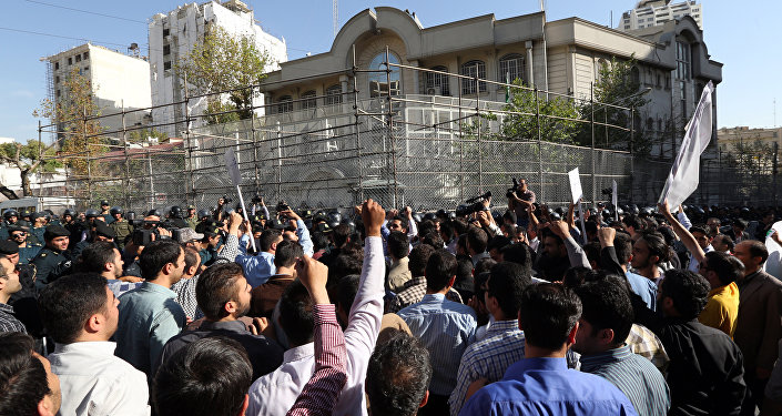 File Photo: Iranian protesters shout slogans during a demonstration against Saudi Arabia outside its embassy in Tehran on September 27, 2015