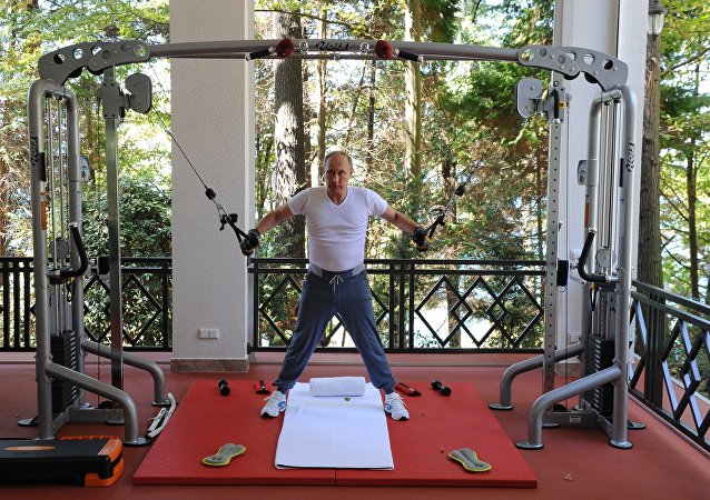 August 30, 2015. Russian President Vladimir Putin during a joint workout with Russian Prime Minister Dmitry Medvedev at the Bocharov Ruchei residence in Sochi
