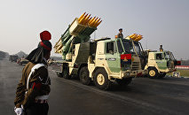 India's Pinaka 214 mm Multi Barrel Rocket Launcher System is displayed during army day parade, in New Delhi, India, Sunday, Jan. 13, 2013