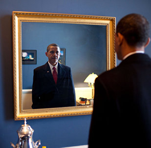 Jan. 20, 2009. President-elect Barack Obama was about to walk out to take the oath of office. Backstage at the U.S. Capitol, he took one last look at his appearance in the mirror
