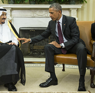 File photo, President Barack Obama, right, meets with King Salman of Saudi Arabia in the Oval Office of the White House in Washington