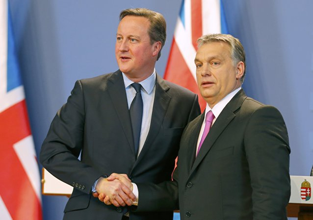 British Prime Minister David Cameron and Hungarian Prime Minister Viktor Orban (R) shake hands after a news conference in Budapest, Hungary January 7, 2016.