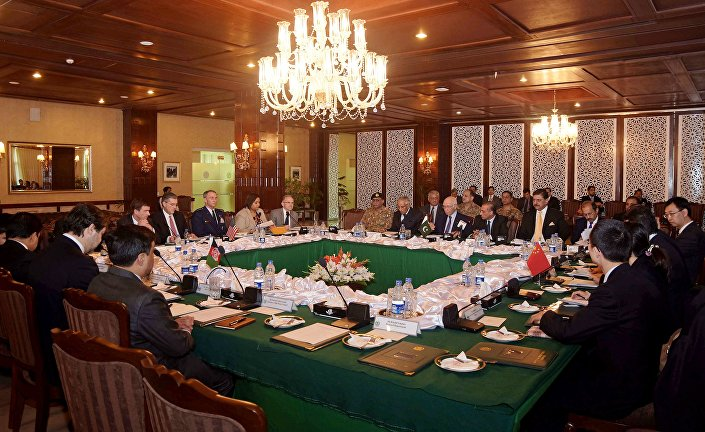 Delegates from Pakistan, Afghanistan, China and United States attend a meeting hoping to lay the roadmap for peace talks with the Taliban, at the foreign ministry in Islamabad, Pakistan, Monday, Jan. 11, 2016.