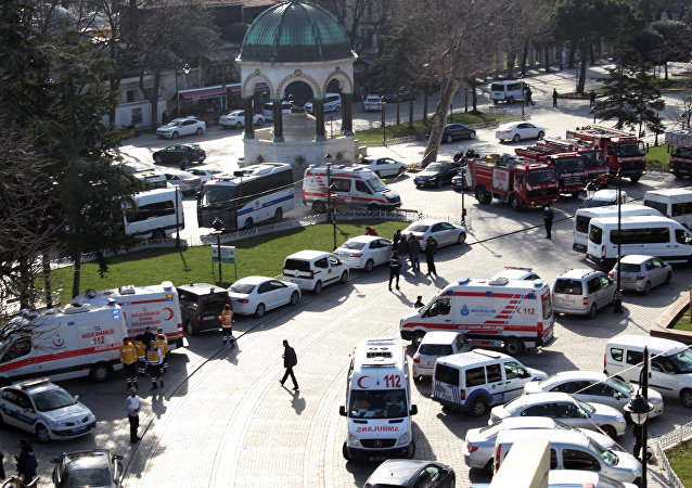 Ambulances and firefighters stationed near the city's landmark Sultan Ahmed Mosque or Blue Mosque after an explosion at Istanbul's historic Sultanahmet district, which is popular with tourists, Tuesday, Jan. 12, 2016