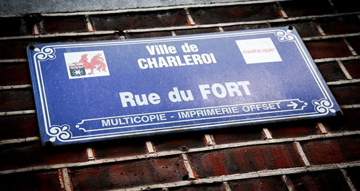A street name sign is pictured on a wall at the Rue du Fort street in Charleroi, Belgium on January 13, 2016.