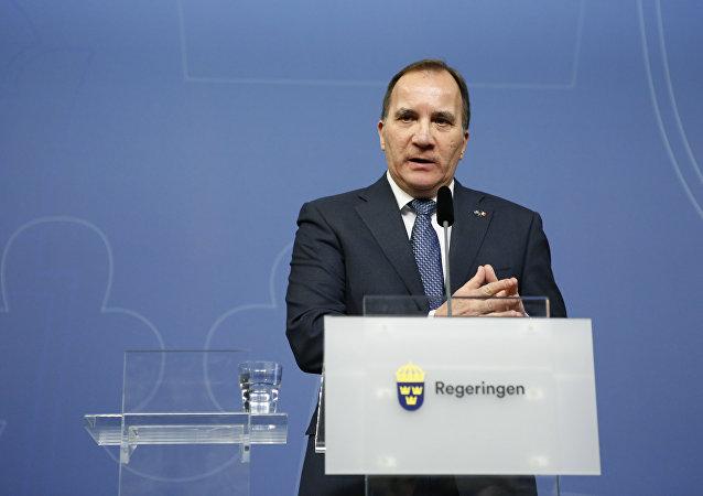 Sweden's Prime Minister Stefan Lofven speaks during a press conference.