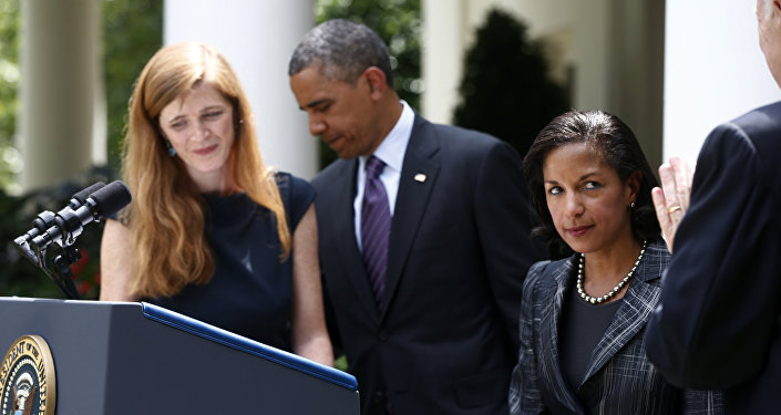 US Ambassador to the UN Samantha Powers, President Obama, and National Security Adviser Susan Rice