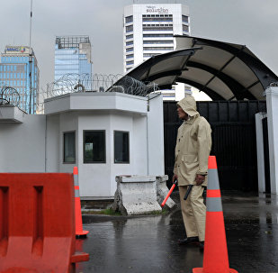 US embassy security personel stand guard in Jakarta