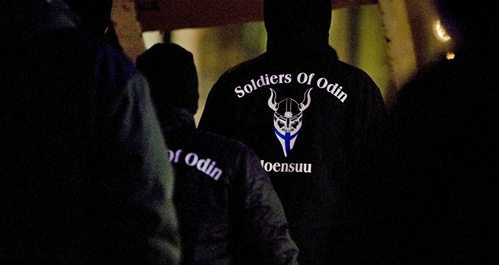 A group that call themselves the Soldiers of Odin demonstrate in Joensuu, Eastern Finland, January 8, 2016