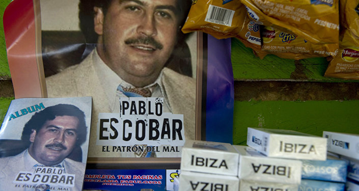 A poster at a stall in the Santo Domingo Savio shantytown in Medellin, Antioquia department, Colombia advertises a theme album about the life of late drug lord Pablo Escobar. (File)
