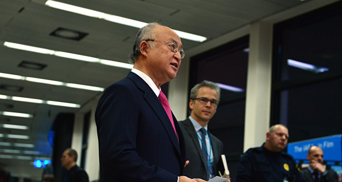 IAEA Director General Yukiya Amano briefs the press following release of his report on Verification and Monitoring in the Islamic Republic of Iran in light of United Nations Security Council Resolution 2231 (2015).
